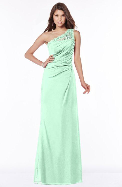 ColsBM Kathleen Honeydew Mature A-line One Shoulder Half Backless Floor Length Lace Bridesmaid Dresses