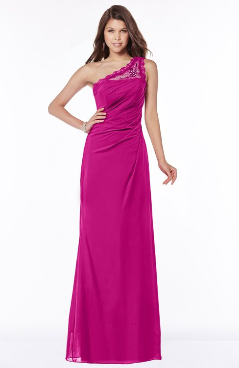 ColsBM Kathleen Hot Pink Mature A-line One Shoulder Half Backless Floor Length Lace Bridesmaid Dresses