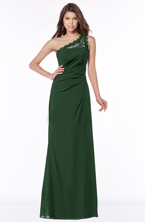 ColsBM Kathleen Hunter Green Mature A-line One Shoulder Half Backless Floor Length Lace Bridesmaid Dresses