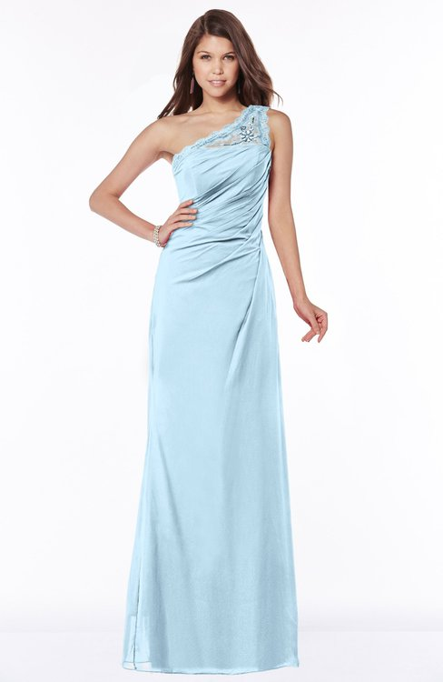 ColsBM Kathleen Ice Blue Mature A-line One Shoulder Half Backless Floor Length Lace Bridesmaid Dresses