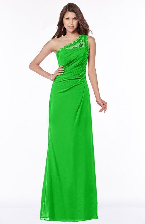 ColsBM Kathleen Jasmine Green Mature A-line One Shoulder Half Backless Floor Length Lace Bridesmaid Dresses