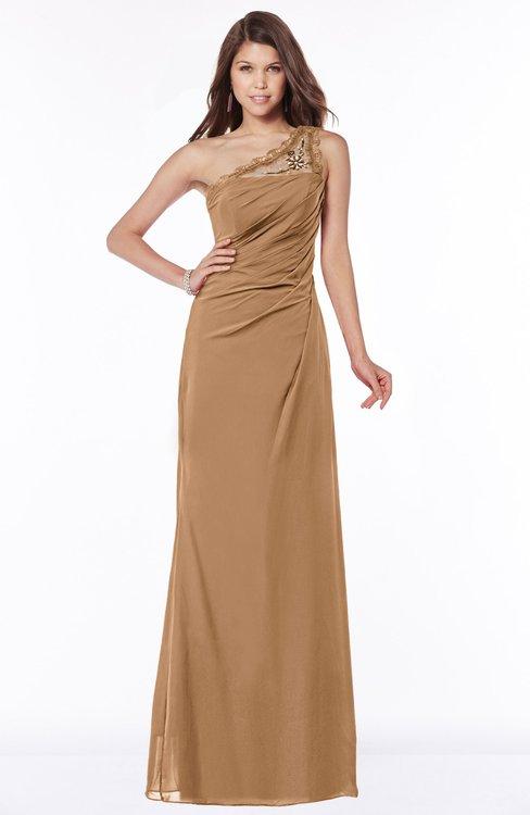 ColsBM Kathleen Light Brown Mature A-line One Shoulder Half Backless Floor Length Lace Bridesmaid Dresses
