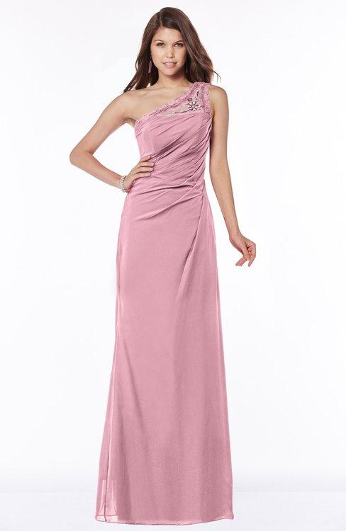 ColsBM Kathleen Light Coral Mature A-line One Shoulder Half Backless Floor Length Lace Bridesmaid Dresses