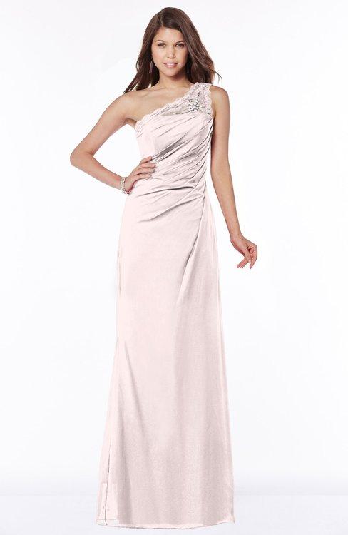 ColsBM Kathleen Light Pink Mature A-line One Shoulder Half Backless Floor Length Lace Bridesmaid Dresses