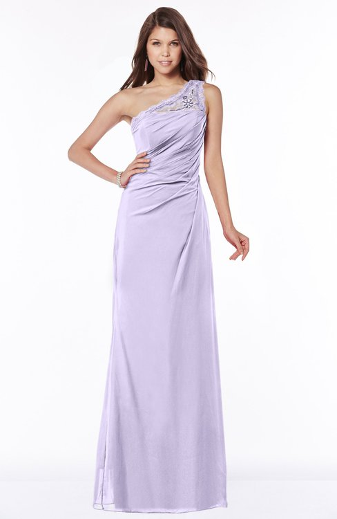 ColsBM Kathleen Light Purple Mature A-line One Shoulder Half Backless Floor Length Lace Bridesmaid Dresses