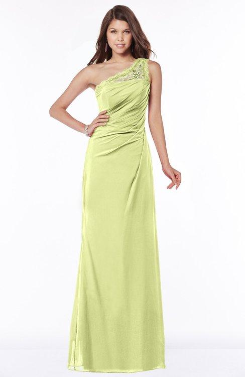 ColsBM Kathleen Lime Sherbet Mature A-line One Shoulder Half Backless Floor Length Lace Bridesmaid Dresses