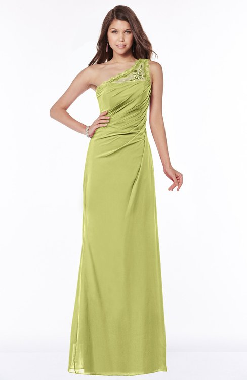 ColsBM Kathleen Linden Green Mature A-line One Shoulder Half Backless Floor Length Lace Bridesmaid Dresses