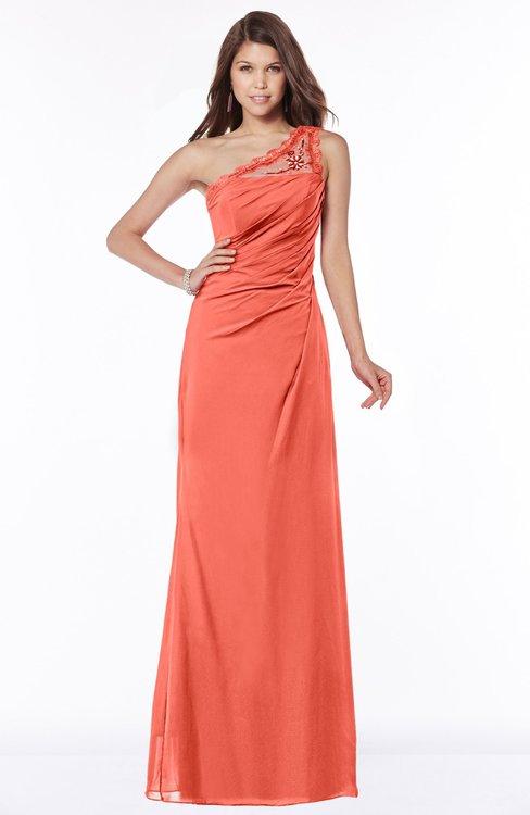 ColsBM Kathleen Living Coral Mature A-line One Shoulder Half Backless Floor Length Lace Bridesmaid Dresses