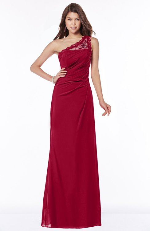 ColsBM Kathleen Maroon Mature A-line One Shoulder Half Backless Floor Length Lace Bridesmaid Dresses
