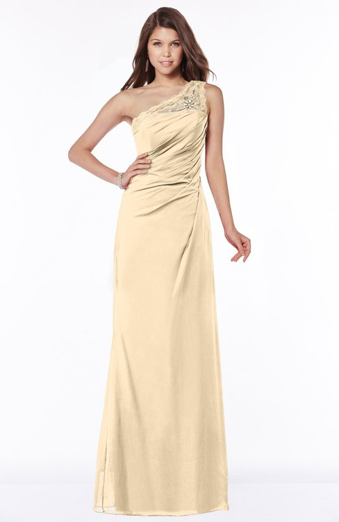 ColsBM Kathleen Marzipan Mature A-line One Shoulder Half Backless Floor Length Lace Bridesmaid Dresses