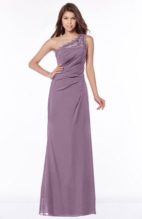 ColsBM Kathleen Mauve Mature A-line One Shoulder Half Backless Floor Length Lace Bridesmaid Dresses