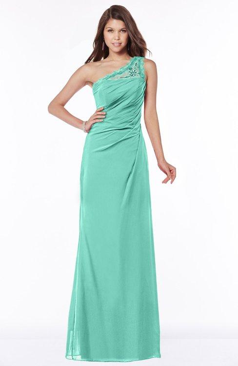 ColsBM Kathleen Mint Green Mature A-line One Shoulder Half Backless Floor Length Lace Bridesmaid Dresses