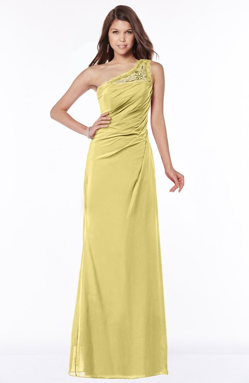 ColsBM Kathleen Misted Yellow Mature A-line One Shoulder Half Backless Floor Length Lace Bridesmaid Dresses