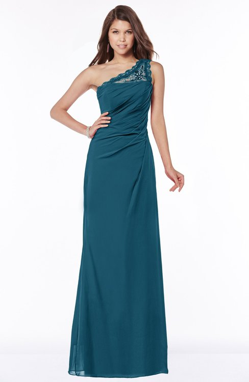 ColsBM Kathleen Moroccan Blue Mature A-line One Shoulder Half Backless Floor Length Lace Bridesmaid Dresses