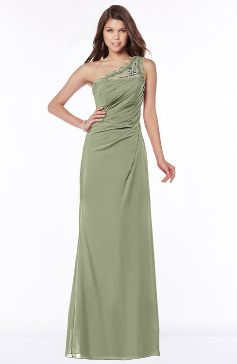 ColsBM Kathleen Moss Green Mature A-line One Shoulder Half Backless Floor Length Lace Bridesmaid Dresses