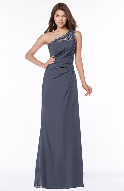 ColsBM Kathleen Nightshadow Blue Mature A-line One Shoulder Half Backless Floor Length Lace Bridesmaid Dresses