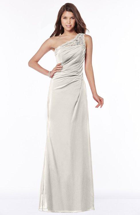 ColsBM Kathleen Off White Mature A-line One Shoulder Half Backless Floor Length Lace Bridesmaid Dresses