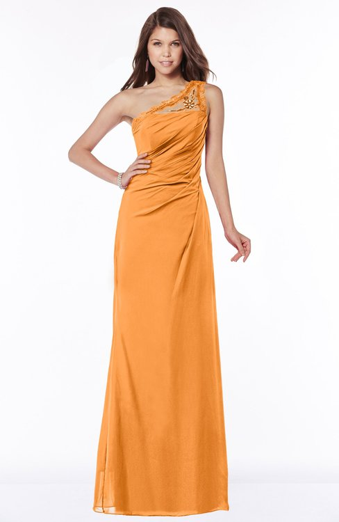 ColsBM Kathleen Orange Mature A-line One Shoulder Half Backless Floor Length Lace Bridesmaid Dresses