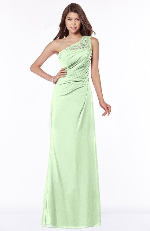 ColsBM Kathleen Pale Green Mature A-line One Shoulder Half Backless Floor Length Lace Bridesmaid Dresses