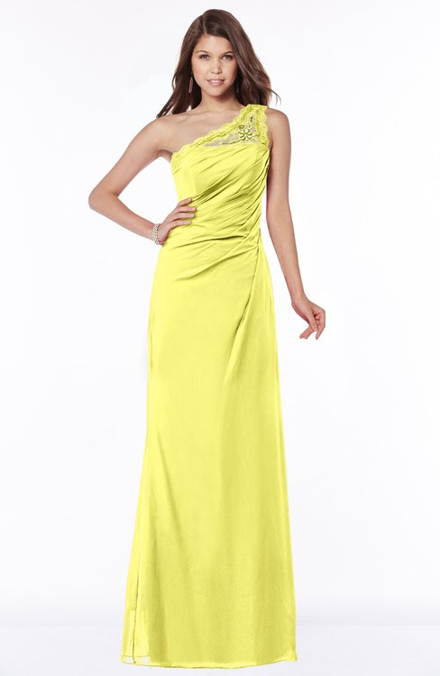 ColsBM Kathleen Pale Yellow Mature A-line One Shoulder Half Backless Floor Length Lace Bridesmaid Dresses
