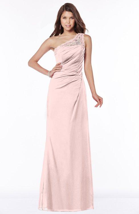 ColsBM Kathleen Pastel Pink Mature A-line One Shoulder Half Backless Floor Length Lace Bridesmaid Dresses