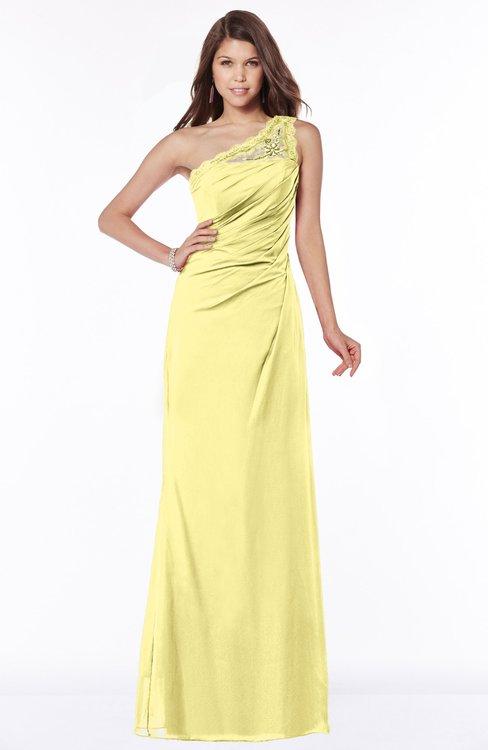 ColsBM Kathleen Pastel Yellow Mature A-line One Shoulder Half Backless Floor Length Lace Bridesmaid Dresses