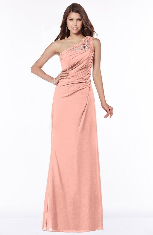 ColsBM Kathleen Peach Mature A-line One Shoulder Half Backless Floor Length Lace Bridesmaid Dresses