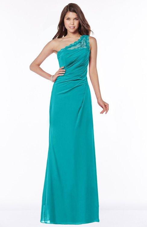 ColsBM Kathleen Peacock Blue Mature A-line One Shoulder Half Backless Floor Length Lace Bridesmaid Dresses