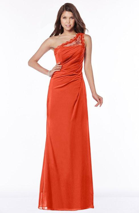 ColsBM Kathleen Persimmon Mature A-line One Shoulder Half Backless Floor Length Lace Bridesmaid Dresses