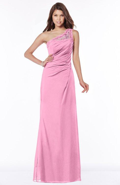 ColsBM Kathleen Pink Mature A-line One Shoulder Half Backless Floor Length Lace Bridesmaid Dresses