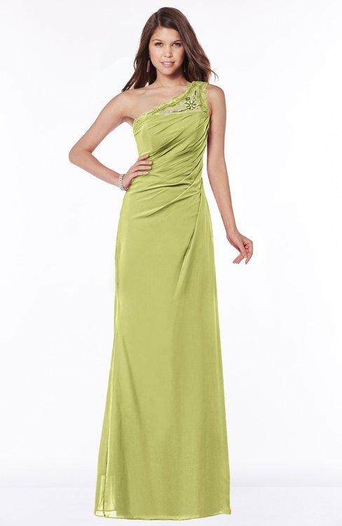 ColsBM Kathleen Pistachio Mature A-line One Shoulder Half Backless Floor Length Lace Bridesmaid Dresses