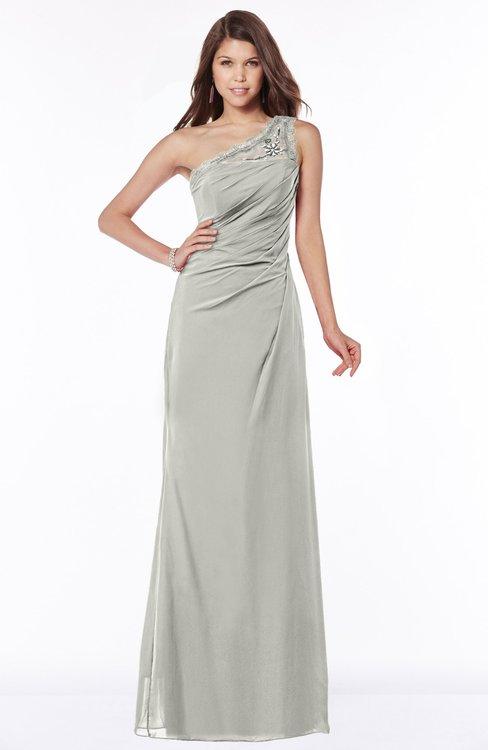 ColsBM Kathleen Platinum Mature A-line One Shoulder Half Backless Floor Length Lace Bridesmaid Dresses