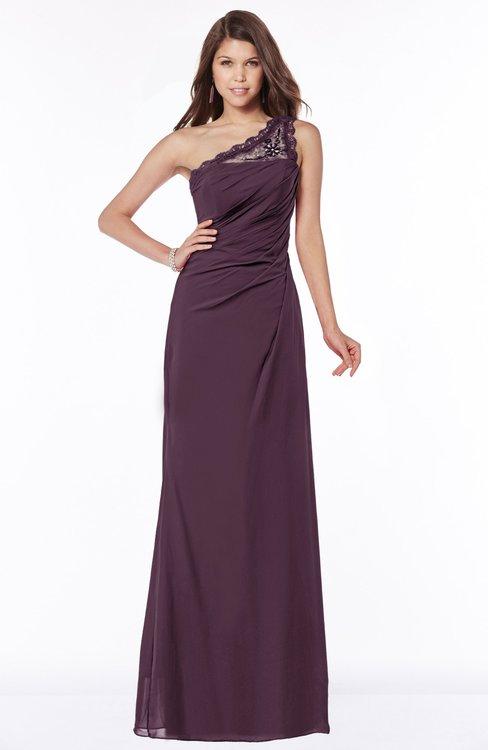 ColsBM Kathleen Plum Mature A-line One Shoulder Half Backless Floor Length Lace Bridesmaid Dresses