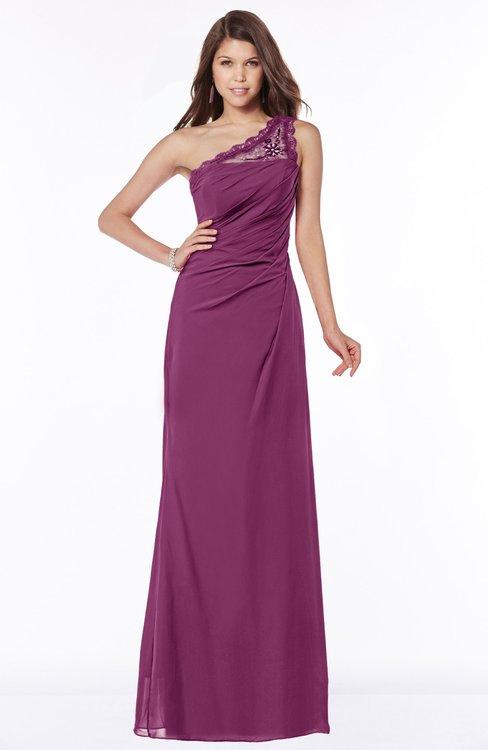 ColsBM Kathleen Raspberry Mature A-line One Shoulder Half Backless Floor Length Lace Bridesmaid Dresses