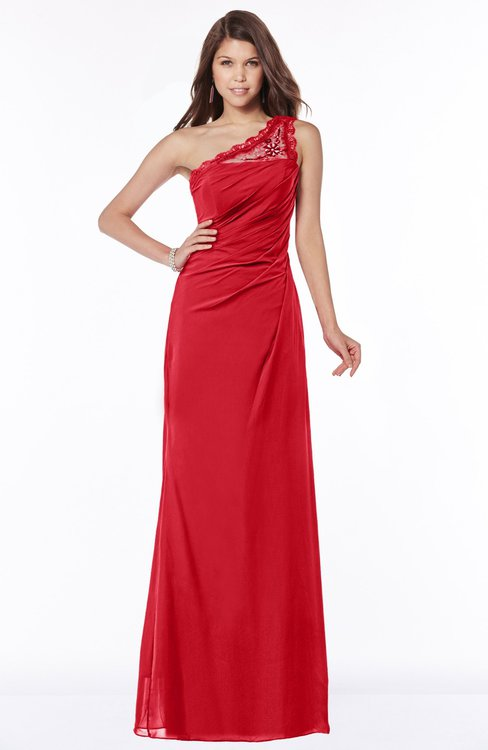 ColsBM Kathleen Red Mature A-line One Shoulder Half Backless Floor Length Lace Bridesmaid Dresses