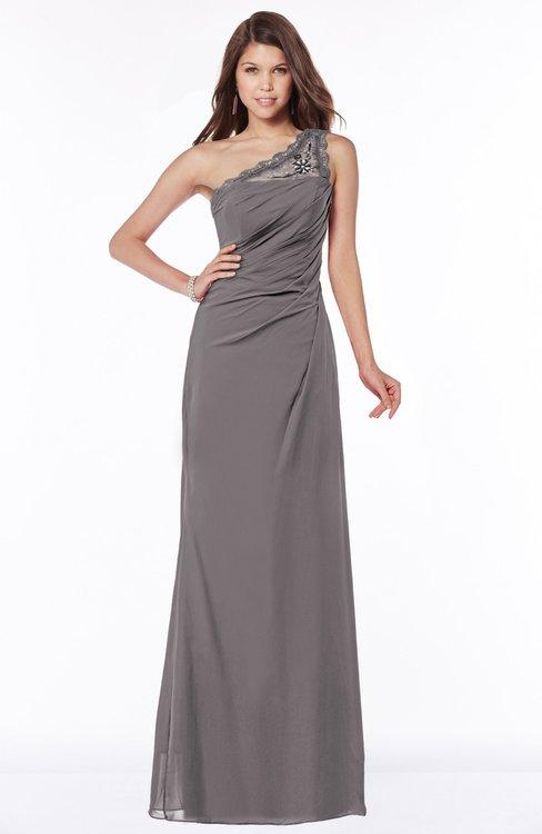 ColsBM Kathleen Ridge Grey Mature A-line One Shoulder Half Backless Floor Length Lace Bridesmaid Dresses