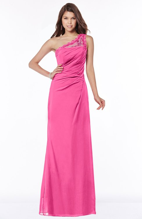 ColsBM Kathleen Rose Pink Mature A-line One Shoulder Half Backless Floor Length Lace Bridesmaid Dresses