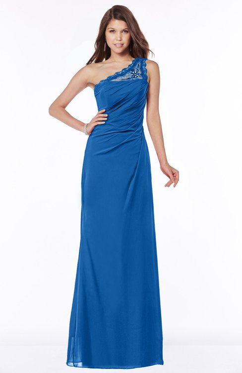 ColsBM Kathleen Royal Blue Mature A-line One Shoulder Half Backless Floor Length Lace Bridesmaid Dresses