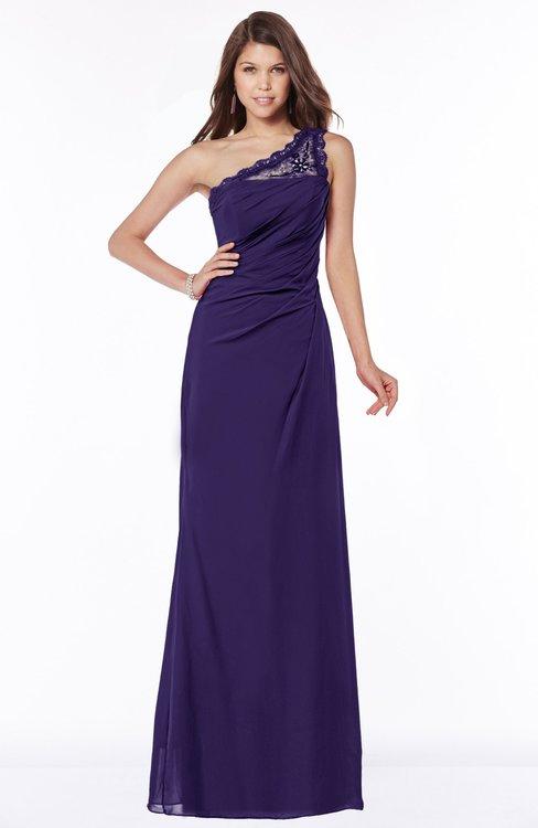 ColsBM Kathleen Royal Purple Mature A-line One Shoulder Half Backless Floor Length Lace Bridesmaid Dresses
