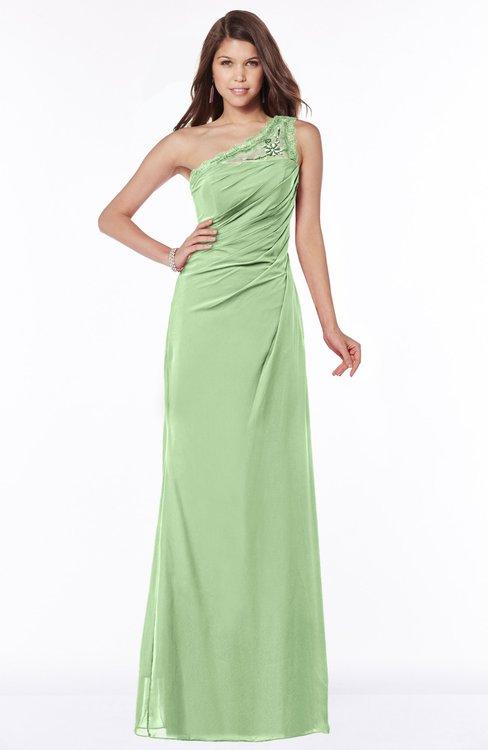 ColsBM Kathleen Sage Green Mature A-line One Shoulder Half Backless Floor Length Lace Bridesmaid Dresses