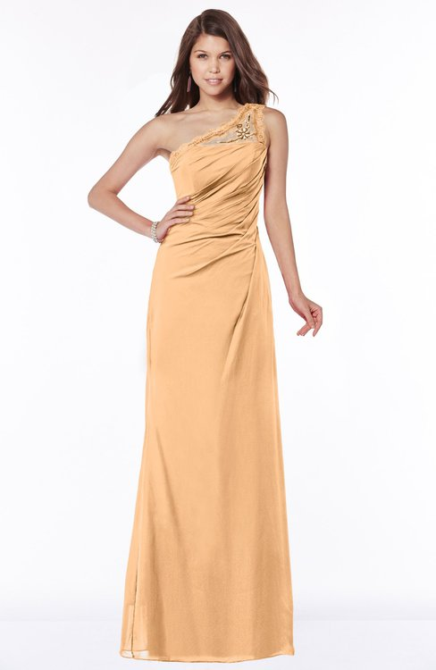 ColsBM Kathleen Salmon Buff Mature A-line One Shoulder Half Backless Floor Length Lace Bridesmaid Dresses