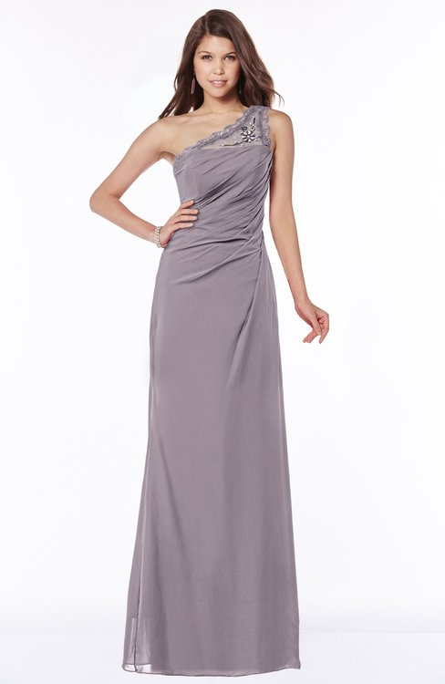 ColsBM Kathleen Sea Fog Mature A-line One Shoulder Half Backless Floor Length Lace Bridesmaid Dresses