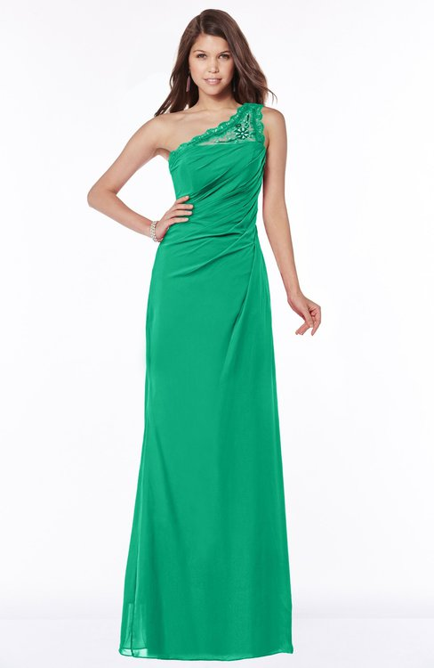 ColsBM Kathleen Sea Green Mature A-line One Shoulder Half Backless Floor Length Lace Bridesmaid Dresses