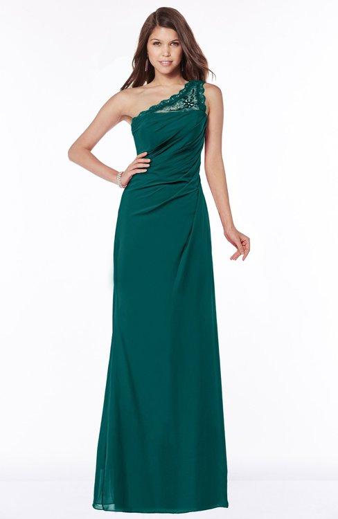 ColsBM Kathleen Shaded Spruce Mature A-line One Shoulder Half Backless Floor Length Lace Bridesmaid Dresses