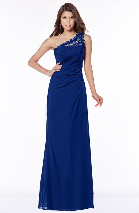 ColsBM Kathleen Sodalite Blue Mature A-line One Shoulder Half Backless Floor Length Lace Bridesmaid Dresses