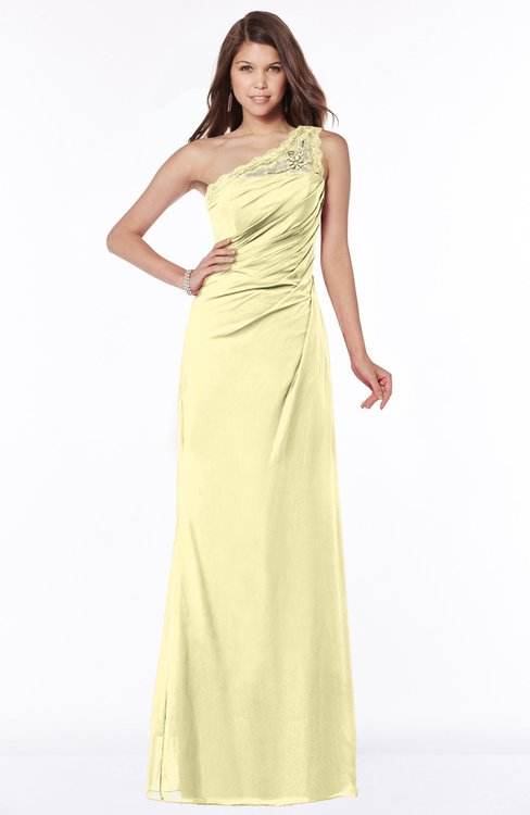 ColsBM Kathleen Soft Yellow Mature A-line One Shoulder Half Backless Floor Length Lace Bridesmaid Dresses