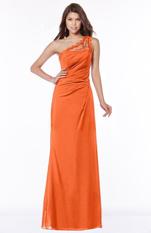ColsBM Kathleen Tangerine Mature A-line One Shoulder Half Backless Floor Length Lace Bridesmaid Dresses