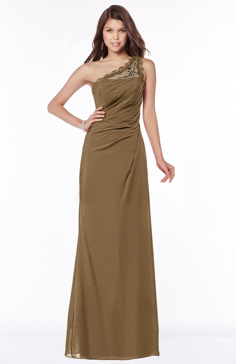 ColsBM Kathleen Truffle Mature A-line One Shoulder Half Backless Floor Length Lace Bridesmaid Dresses