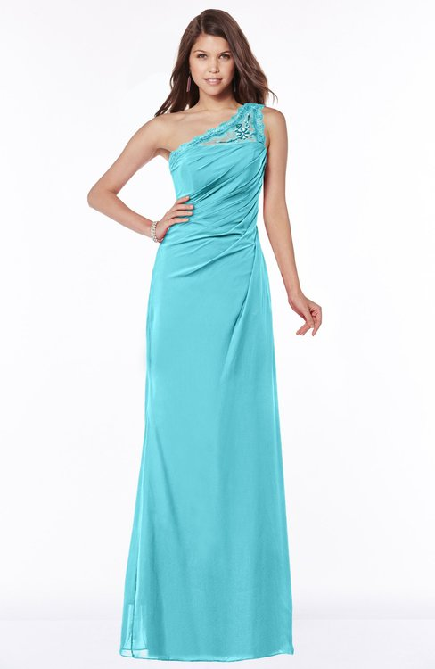 ColsBM Kathleen Turquoise Mature A-line One Shoulder Half Backless Floor Length Lace Bridesmaid Dresses