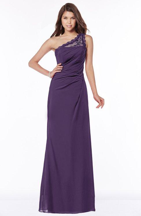 ColsBM Kathleen Violet Mature A-line One Shoulder Half Backless Floor Length Lace Bridesmaid Dresses